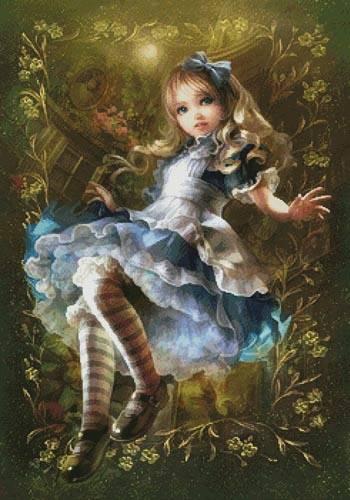 cross stitch pattern Floating Alice