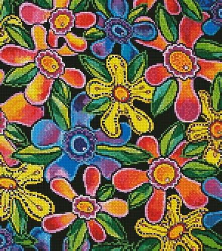 cross stitch pattern Funky Flowers (Crop)