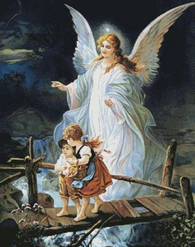 cross stitch pattern Guardian Angel Watching over Children
