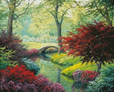 cross stitch pattern The Garden Bridge (Large)