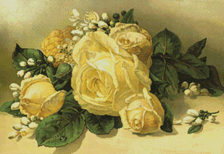cross stitch pattern Golden Yellow Roses