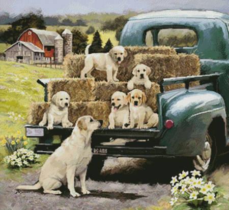 cross stitch pattern Green Truck Pups