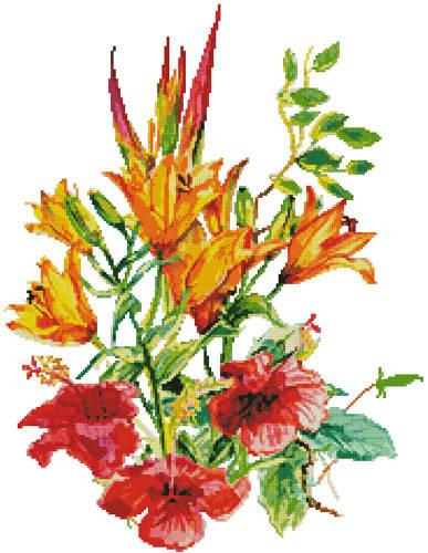 cross stitch pattern Hibiscus and Daylilies (No Background)