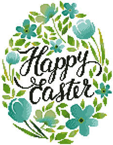 cross stitch pattern Happy Easter Floral Egg (Blue)