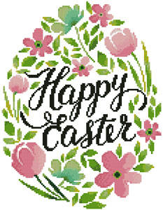 cross stitch pattern Happy Easter Floral Egg (Pink)