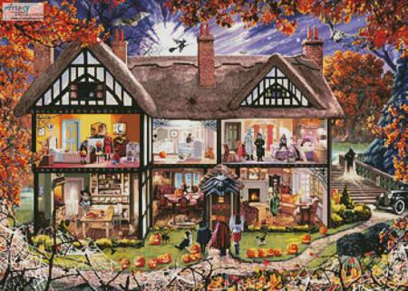 cross stitch pattern Halloween House Painting