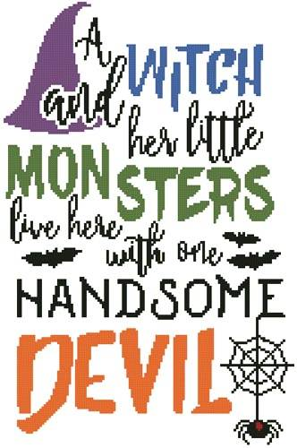 cross stitch pattern Halloween Quote