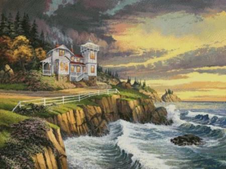 cross stitch pattern Hopkins Point Lighthouse