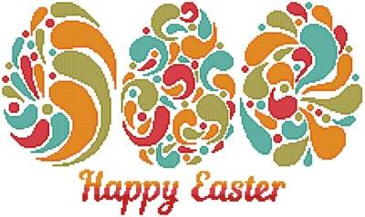 cross stitch pattern Happy Easter Eggs