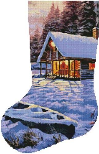 cross stitch pattern Log Cabin Stocking (Left)