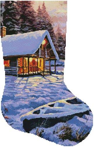 cross stitch pattern Log Cabin Stocking (Right)