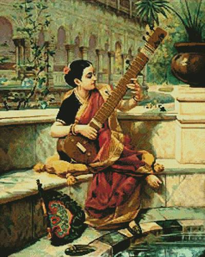cross stitch pattern Lady Playing Sitar