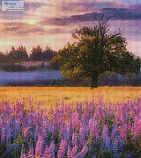 cross stitch pattern Lupine Sunrise (Crop)