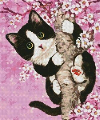 cross stitch pattern Mini Cherry Blossom Cat