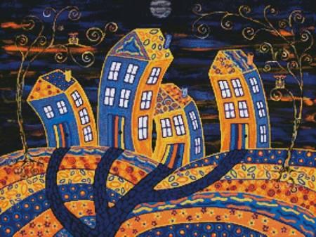 cross stitch pattern Midnight in Town