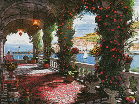cross stitch pattern Mediterranean Veranda