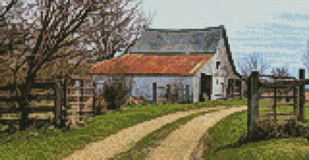 cross stitch pattern Mini Rustic Barn (Left)