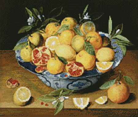 cross stitch pattern Mini StillLife LemonsOrangesPomegranate