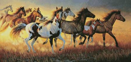 cross stitch pattern Mustangs