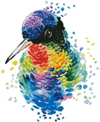 cross stitch pattern Mini Watercolour Hummingbird
