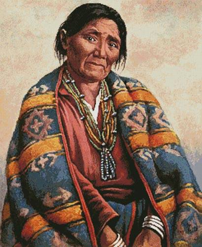cross stitch pattern Navajo Indian Woman (Large)