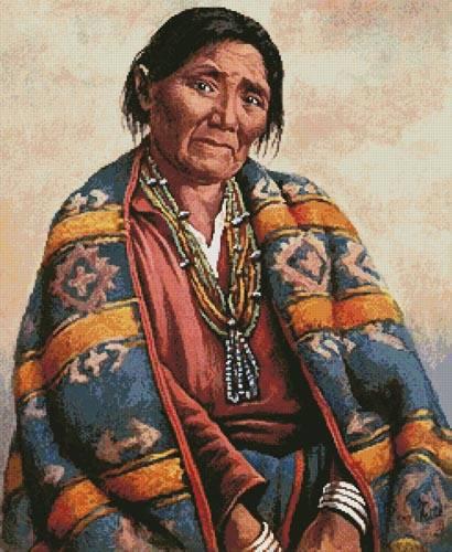 cross stitch pattern Navajo Indian Woman (Large)