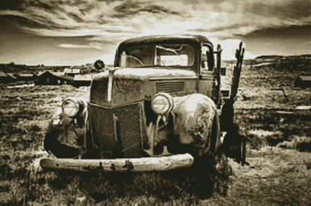 cross stitch pattern Old Car (Sepia) 2