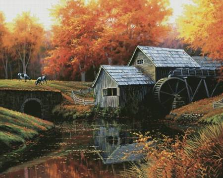 cross stitch pattern The Old Mill in October (Large)
