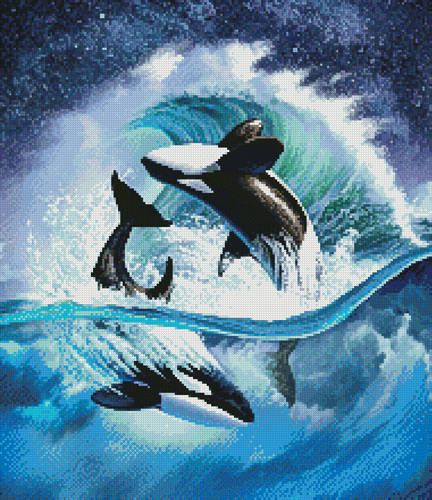 cross stitch pattern Orca Wave (Crop)
