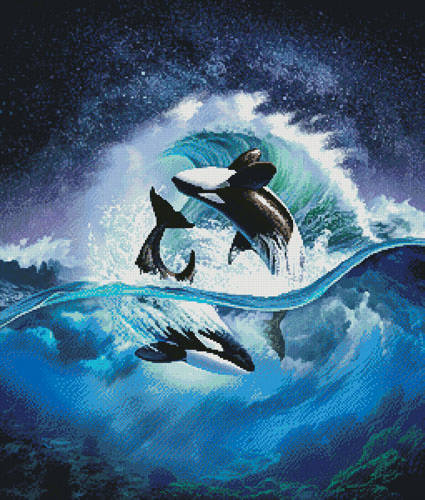 cross stitch pattern Orca Wave