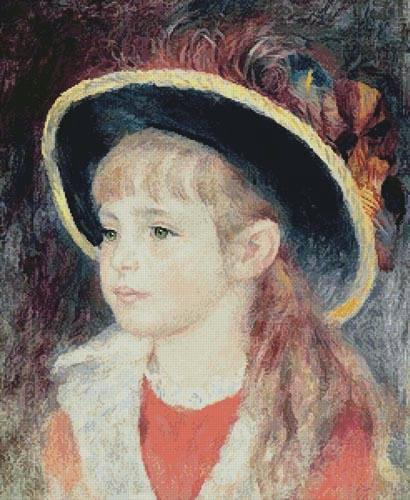 cross stitch pattern Portrait of a Girl with a Blue Hat