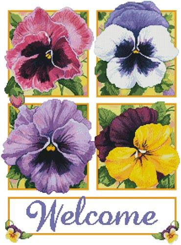 cross stitch pattern Pretty Pansies