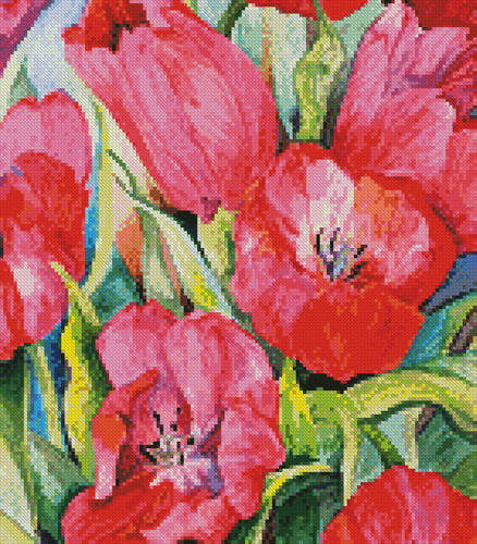 cross stitch pattern Red Tulips (Crop)