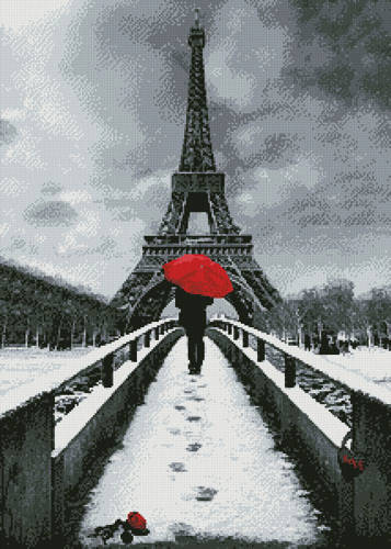 cross stitch pattern Red Umbrella at the Eiffel Tower