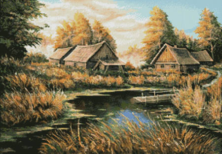 cross stitch pattern Rural River Landscape