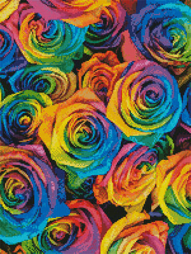 cross stitch pattern Rainbow Roses (Crop 2)