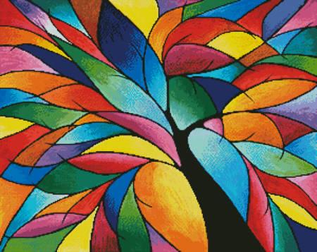 cross stitch pattern Rainbow Tree