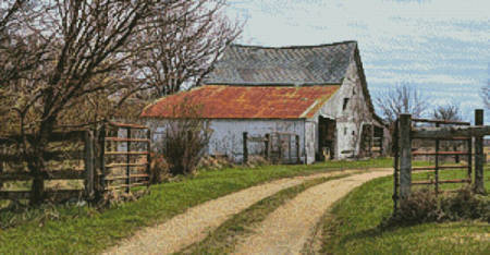 cross stitch pattern Rustic Barn (Left)