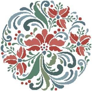 cross stitch pattern Rosemaling 7