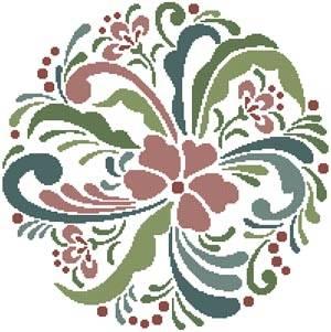 cross stitch pattern Rosemaling 8