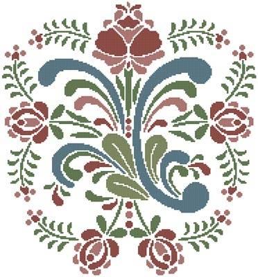 cross stitch pattern Rosemaling 9