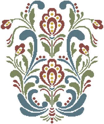 cross stitch pattern Rosemaling 10