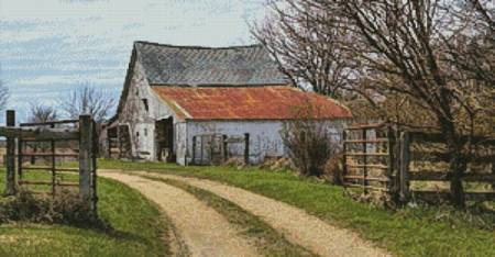 cross stitch pattern Rustic Barn