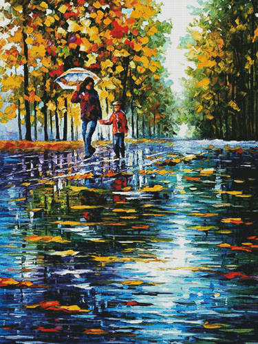 cross stitch pattern Stroll in Autumn Park (Large)