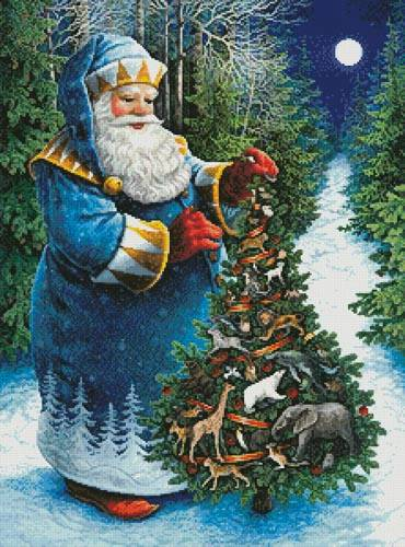 cross stitch pattern Santa's Christmas Tree