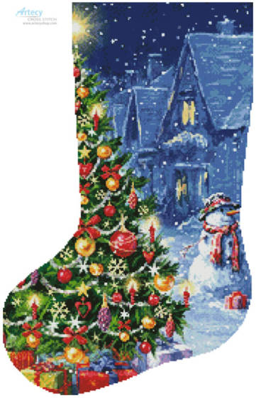 cross stitch pattern Snowman and Christmas TreeStocking(Left)
