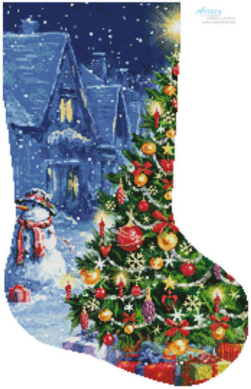 cross stitch pattern Snowman and ChristmasTreeStocking(Right)