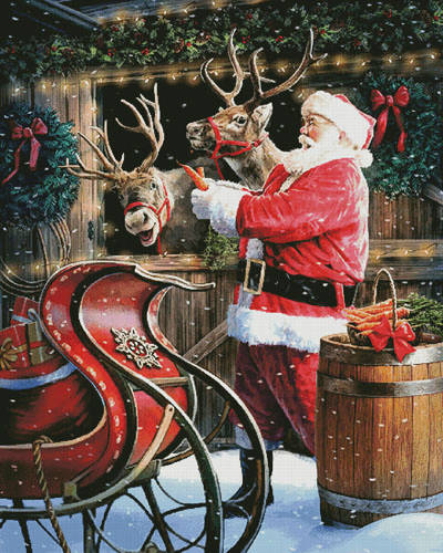 cross stitch pattern Santa Feeding the Reindeer (Large)