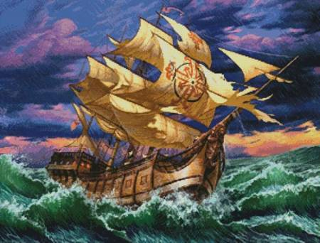 cross stitch pattern Ship in Storm