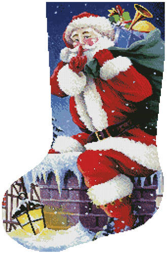 cross stitch pattern Santa's Here Stocking (Left)